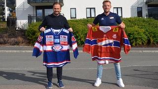 Vår sportssjef Frikk Juell og Magnus Færøy fra Hasle Løren Elite.